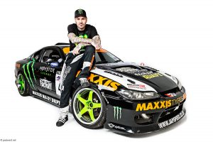 Shane Lynch shot for Monster energy drinks at a studio with his drift car photographed by car photographer Paul Ward