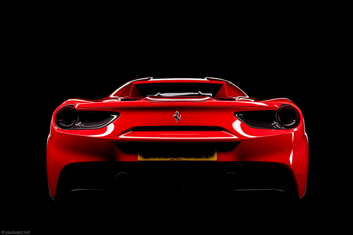 Ferrari 488 spider rear end by Car photographer Paul Ward