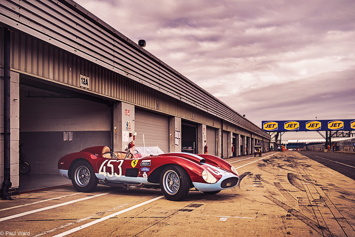 Ferrari 500 TRC, 1957 by car photographer Paul Ward, silverstone, classic car photography