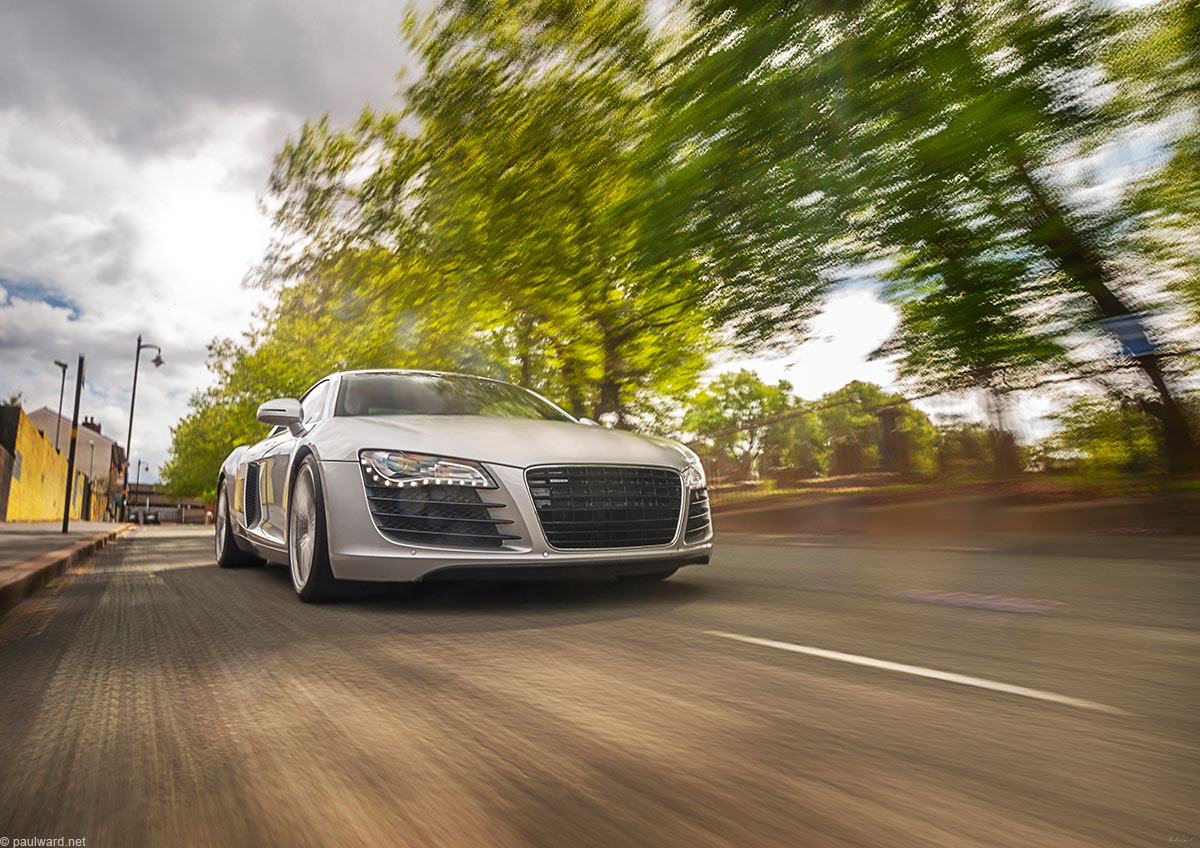 Audi R8, supercar, car photography by Birmingham Photographer Paul Ward, supercars, automotive, fast, driving, motorsport