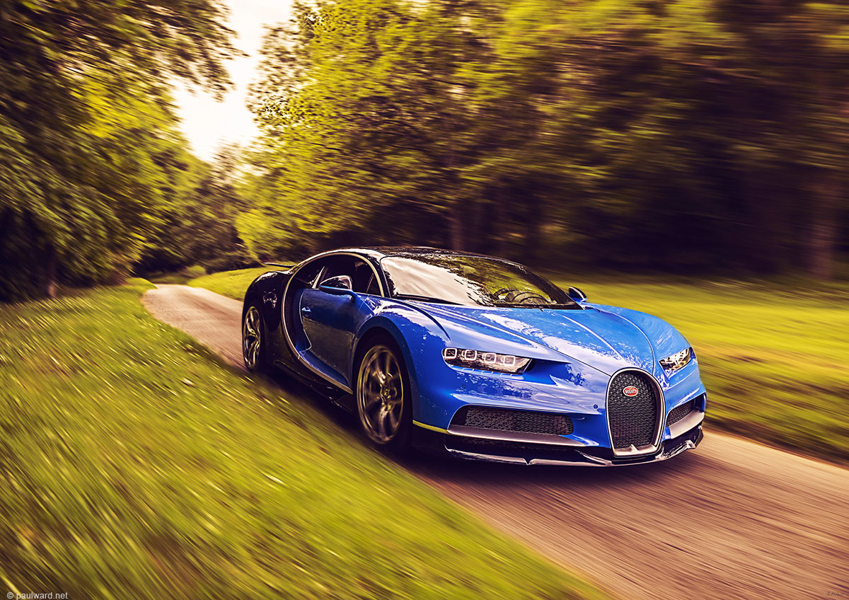 Bugatti Chiron, hypercar, car photography by Birmingham Photographer Paul Ward, supercars, automotive, fast, driving, motorsport