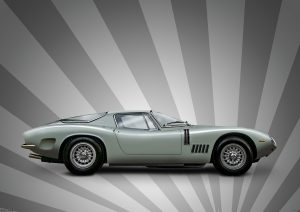 Bizzarrini 5300 GT Strada car graphic art image by automotive artist and photographer Paul Ward