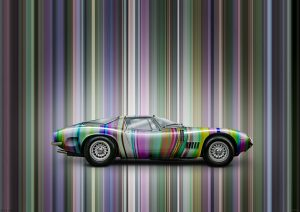 Bizzarrini 5300 GT Strada car graphic art image by automotive artist Paul Ward