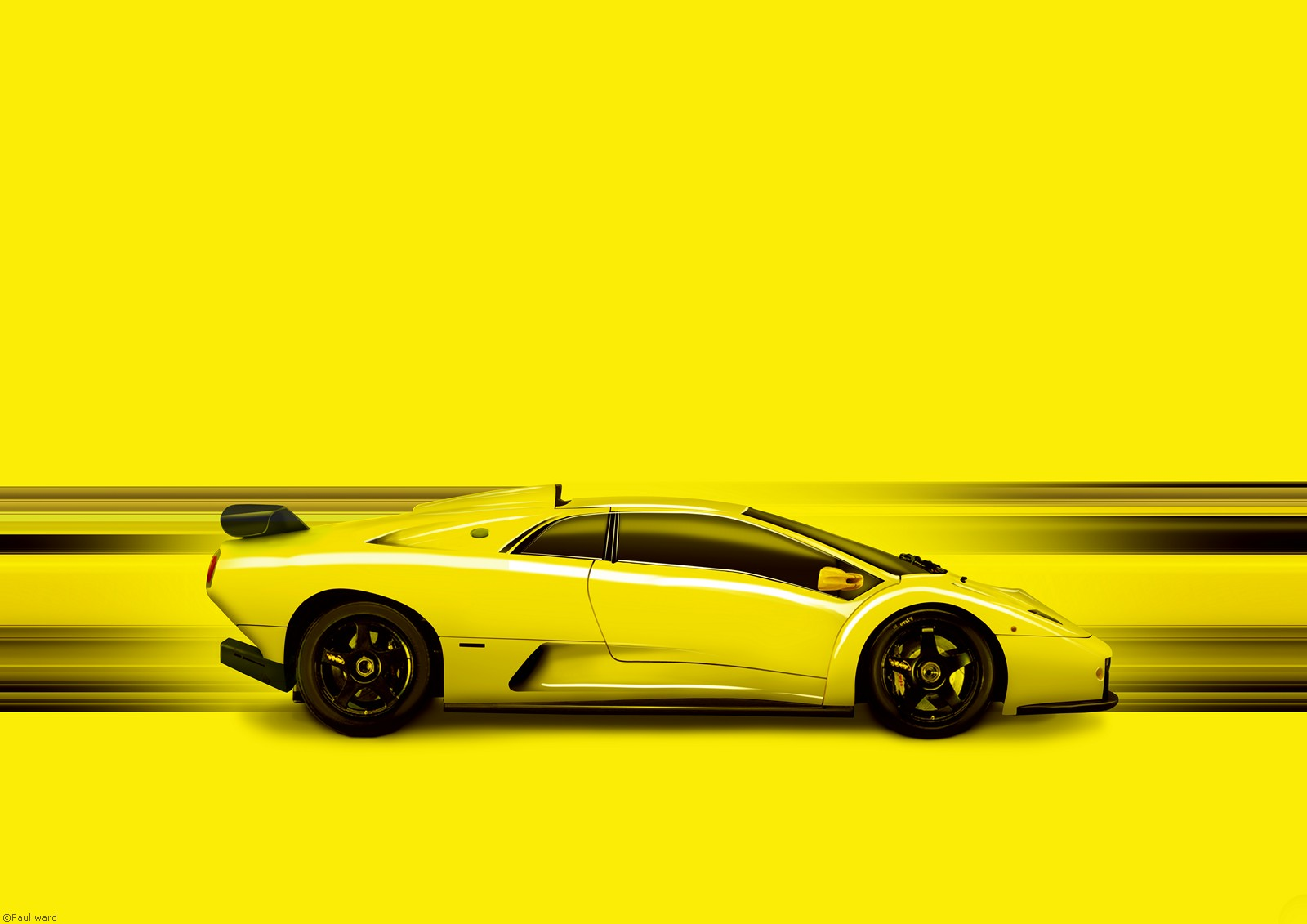 Lamborghini Diablo GT car graphic art image by automotive artist Paul Ward