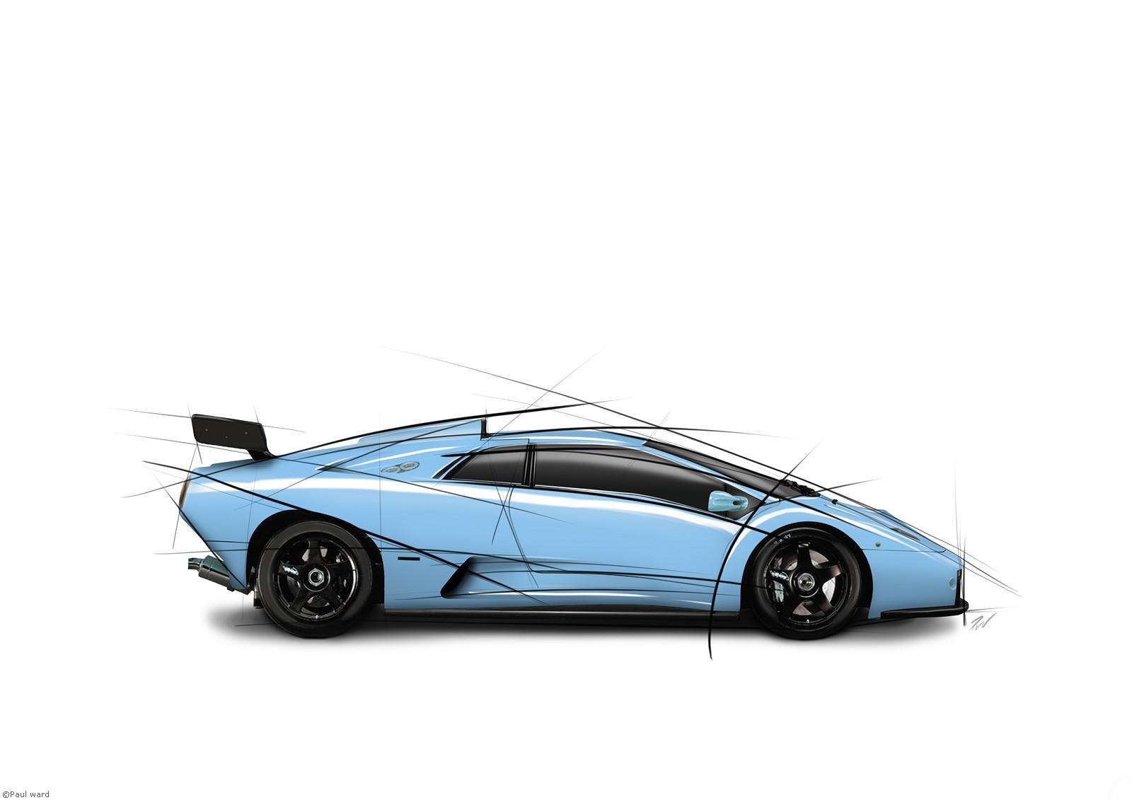 Lamborghini Diablo GT-R car graphic art image by classic car photographer Paul Ward