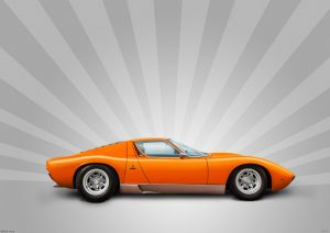 Lamborghini Miura car graphic art image by classic car photographer Paul Ward