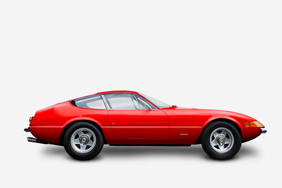 Ferrari Daytona 365 GTB/4, car graphic art image by automotive artist Paul Ward