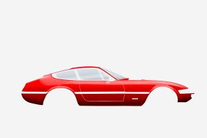Ferrari Daytona 365 GTB/4, car graphic art image by automotive artist Paul Ward