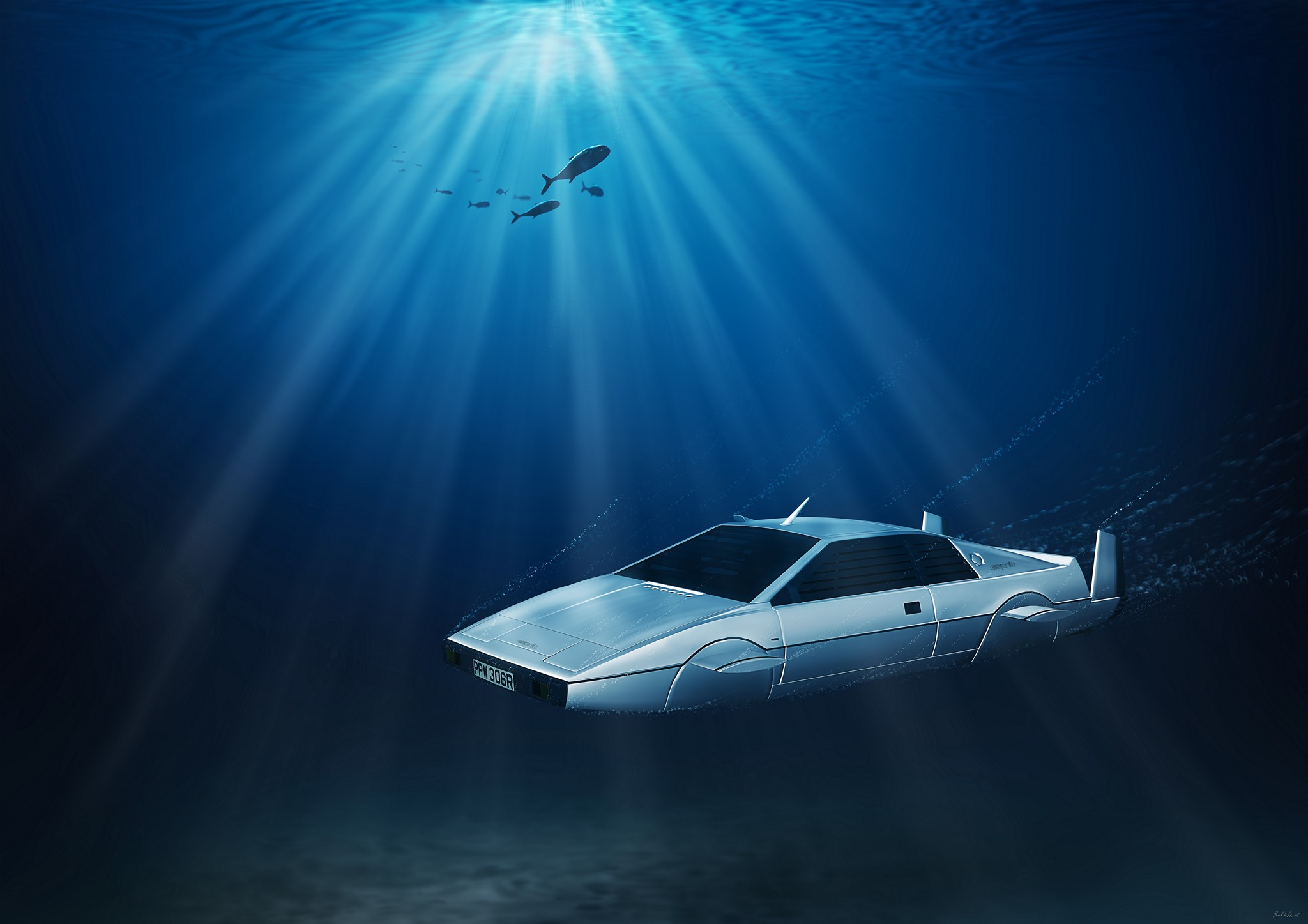 Lotus Esprit S1 submarine, James Bond car underwater, digital art by car photographer Paul Ward
