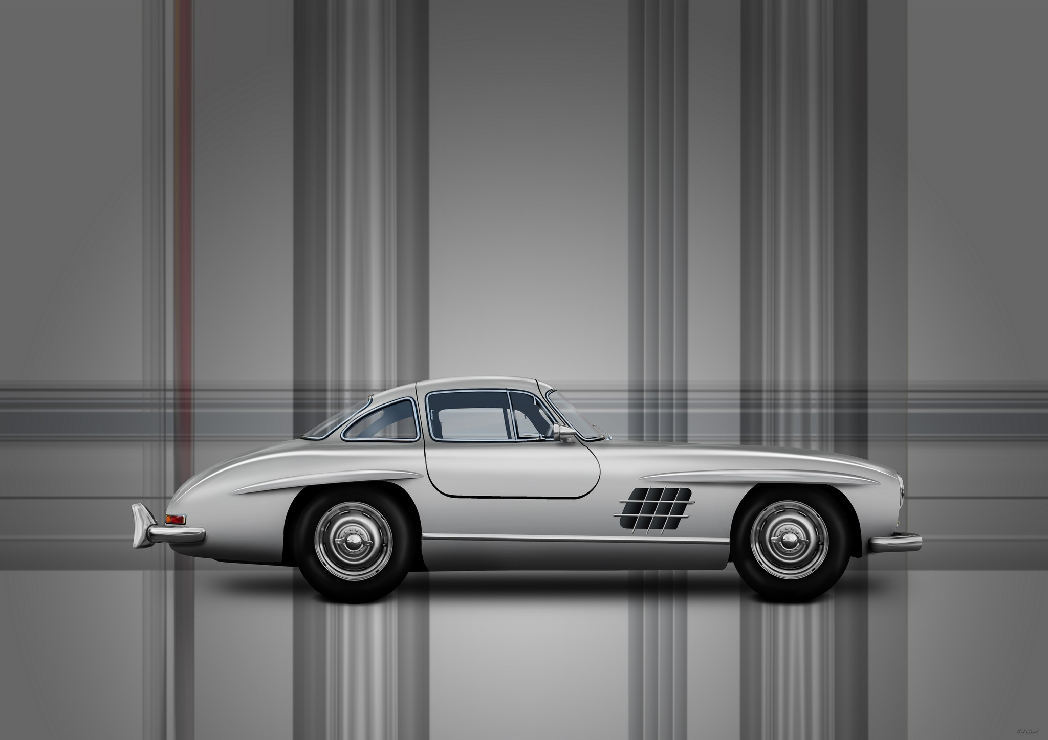 Mercedes benz 300SL Gullwing car art by Automotive artist Paul Ward, car photography, automotive art