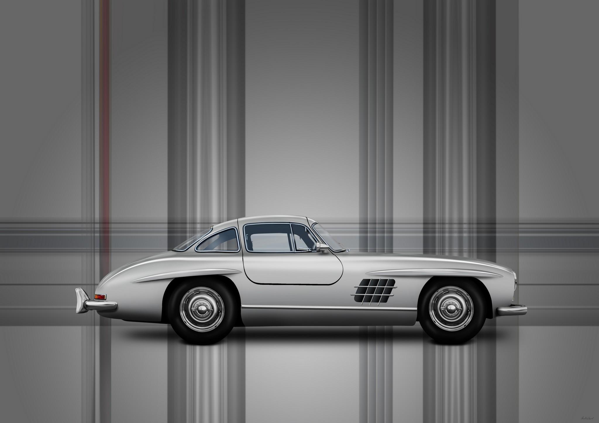 Mercedes benz 300SL Gullwing car art by Automotive artist Paul Ward, car photography, automotive art