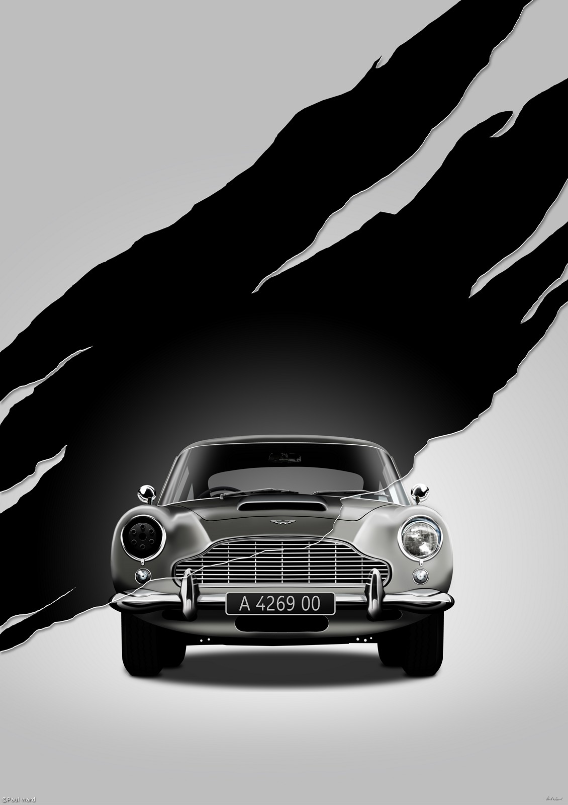 Aston Martin DB5 no time to die car, digital art by Birmingham car photographer Paul Ward. Classic cars, supercars, Automotive.