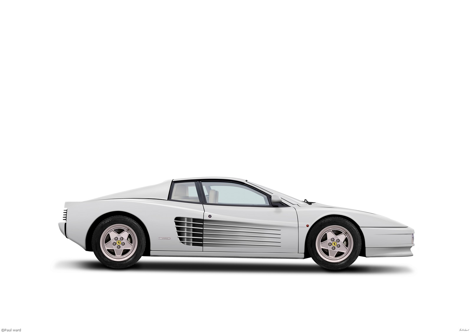Ferrari Testarossa, digital art by Birmingham car photographer Paul Ward. Classic cars, supercars, Automotive.