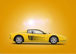 Ferrari Testarossa, digital art by Birmingham car photographer Paul Ward. Classic cars, supercars, Automotive.