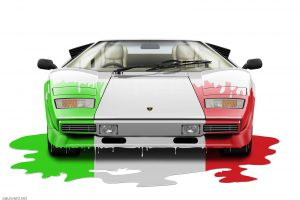 Lamborghini Countach, digital art by Birmingham car photographer Paul Ward. Classic cars, supercars, Automotive.